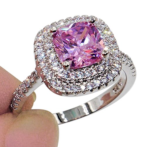- Ring,soAR9opeoF Shiny Large Square Faux Topaz Ring Women Party Banquet Costume Jewelry Decor - Pink US 6