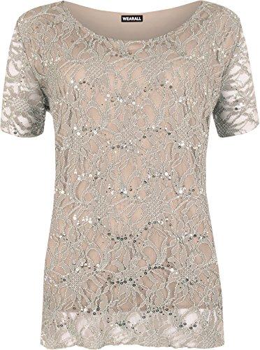 WearAll Women's Plus Size Lace Sequin Lined Ladies Party Crochet Top - Mocha - US 20-22 (UK 24-26)