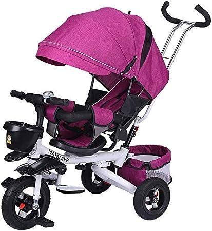 JINHH Sentado Triciclo, Bicicleta reclinable Infantil Carretilla Plegable niños Triciclo Luz Kid Cochecito con barandilla de Bicicletas (Color: Gris)