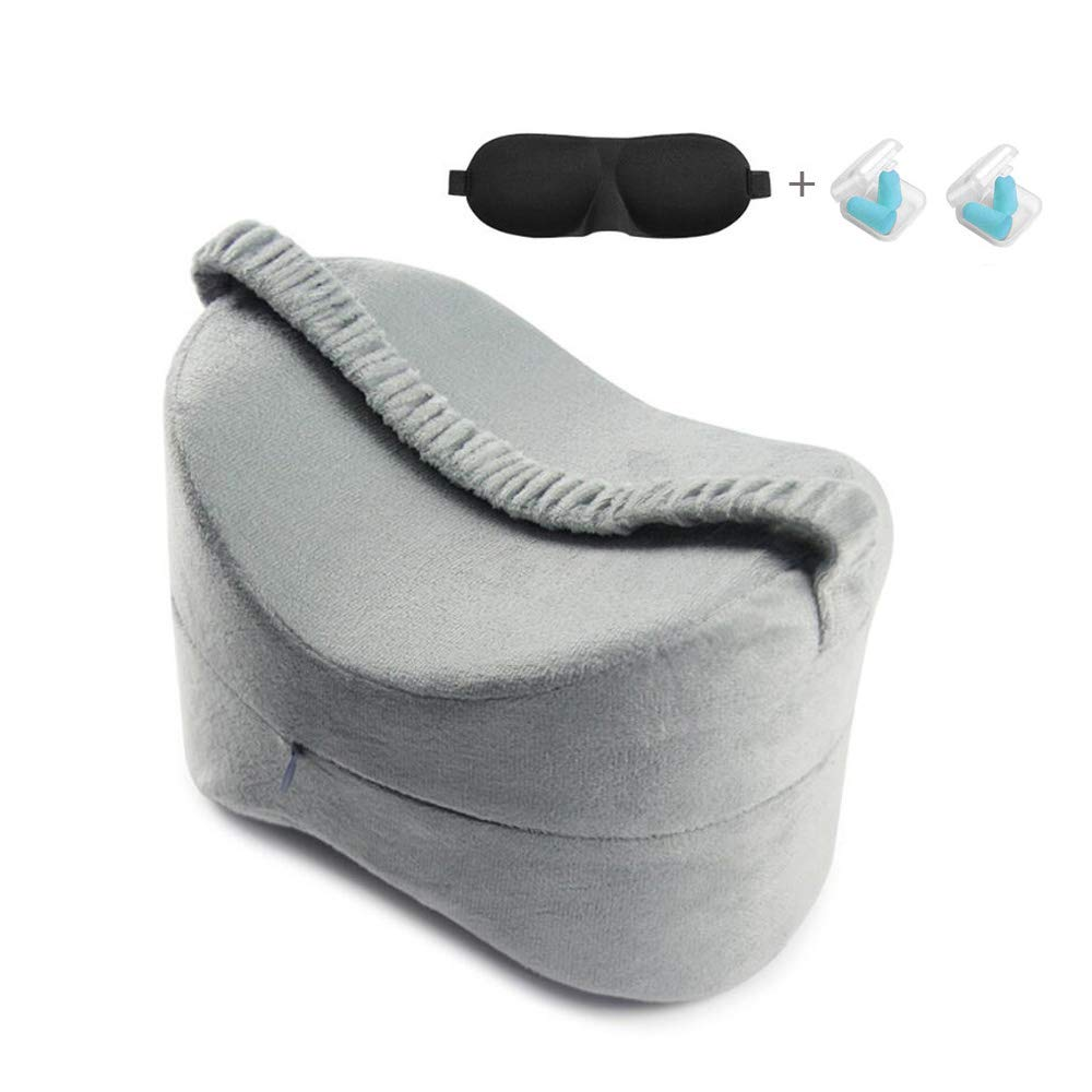Knee Pillow for Side Sleepers - Back, Hip, Sciatica, Ankle, Joint, Knee Pain Relief -Premium Memory Foam Wedge Contour Leg Pillow Cushions Support With Breathable Zippered Cover with Leg Strap Easy Buy Everyday