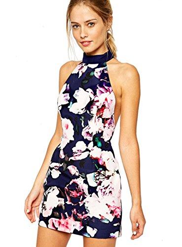 Sheinside Women's Blue Halter Backless Floral Print Dress (L, Blue)