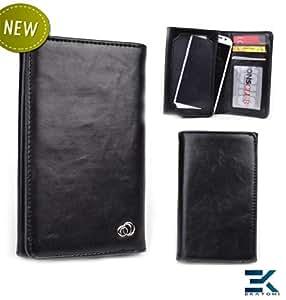 [Unisex] Universal Bifold Phone Wallet fits Sony Xperia ZR Case - BLACK. Bonus Ekatomi Screen Cleaner