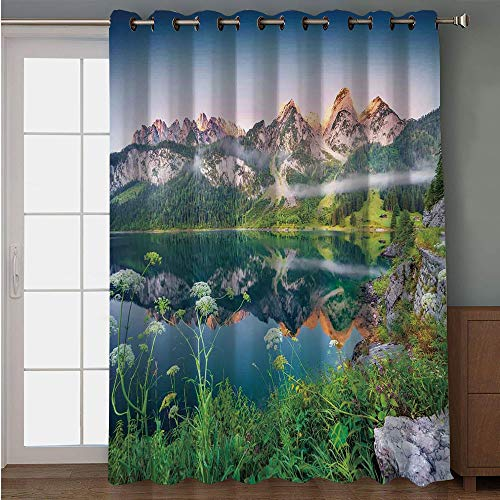 (iPrint Blackout Patio Door Curtain,Nature,Misty Summer Morning on Austrian Alps Mountain Range with Lake Wanderlust Landscape,Green Blue,for Sliding & Patio Doors, 102
