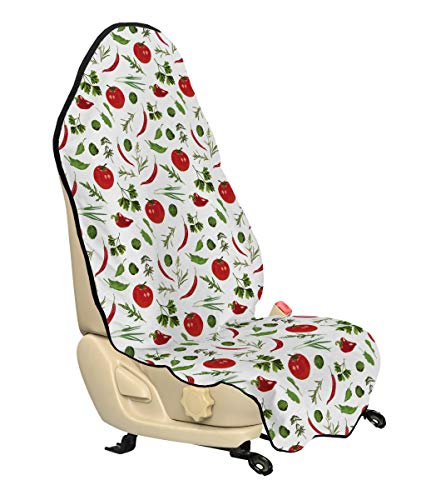 Lunarable Vegetables Car Seat Cover, Having Dinner Lunch Time Tomatoes Dill Herbs Restaurant Spicy Image, Car Truck Seat Cover Protector Nonslip Backing Universal Fit, Ruby Fern Green White
