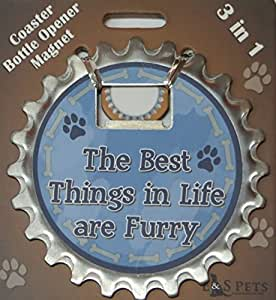 """3 in 1 Bottle Ninja - Coaster, Bottle Opener or Magnet """"The Best Things in Life are Furry"""""""