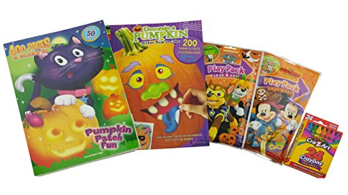 """Halloween Bundle Gift for Kids   5 Items Included: """"Pumpkin Patch Fun"""" 400-page Coloring Book, """"Decorate a Pumpkin"""" Sticker & Coloring Book, Mickey & Paw Patrol Play Packs & Box (The Great Halloween Puppy Adventure)"""