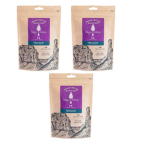 TrailFork Peanut-Butter-Banana Oats Oatmeal Dehydrated Backpacking Camping Food Gluten-Free - 3 Pack