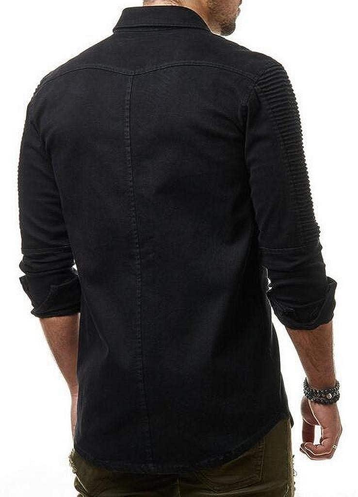 MMCP Men Formal Button Down Long Sleeve Denim Regular Fit Ruched Dress Work Shirt