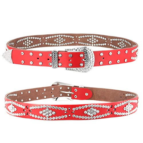 Women Fashion Studded Western Crystal Berry Rhinestone Bling Cowgirl Leather Belt - Belt Leather Red Western