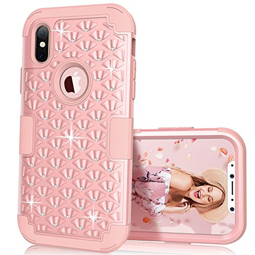 iPhone X Case, KAMII 3in1 Studded Rhinestone Bling Diamond Hard PC+Silicone Hybrid Shockproof Drop Proof Full Body Protection Defender Case Cover for iPhone X 2017 (Rose Golden)