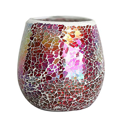LH Mosaic Glass Votive Candle Holder,Handmade Multicolored Decorative Tealight Candle Holders - Perfect for Birthday Weddings Parties and Home Decor(Red) (Red Mosaic Tealight Holder)