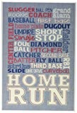 Stupell Home Décor Baseball Typog Denim Feel Wall Plaque Art, 10 x 0.5 x 15, Proudly Made in USA