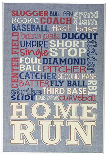 Stupell Home Décor Baseball Typog Denim Feel Wall Plaque Art, 10 x 0.5 x 15, Proudly Made in USA by The Kids Room by Stupell