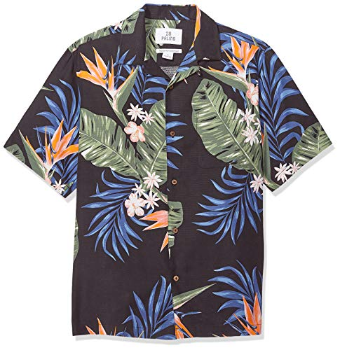 28 Palms Men's Relaxed-Fit 100% Silk Tropical Hawaiian Shirt Bird of Paradise Black, Large