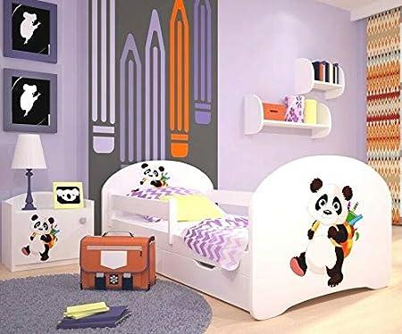 per Camera da Letto con cassetti e Materasso in Schiuma di Sicurezza Panda 160 x 80 cm MEBLEX Letto per Bambini per Bambini con Struttura in MDF e testiera Integrata 160x80cm Pino MDF