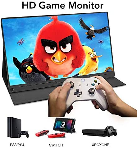 Portable Monitor, Upgraded 15.6 Inch IPS HDR 1920X1080 FHD Eye Care Screen USB C Gaming Monitor, Dual Speaker Computer Display with HD Type-C VESA for Laptop PC MAC Phone Xbox PS4 Include Smart Case 51 F 2BeWed0L
