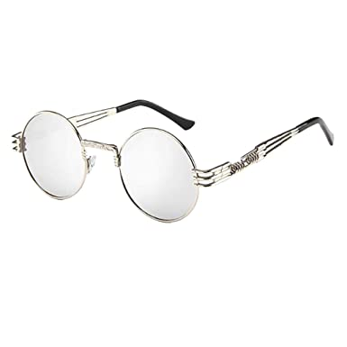 9132c743266d Amazon.com  Kinglly Unisex Vintage Retro Glasses Oval Round Big Frame  Reflective Color Lens Sunglasses Eyewear  Clothing