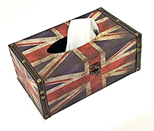Tissue Box Cover Holder - British Flag - Red White and Blue Decorative Vintage Hinged Refillable TissueBox Holder (Large, British red)