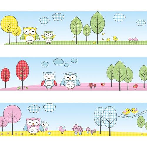 Bordi da parete Gufi e uccellini Wandkings Lunghezza: 450 cm, autoadesivi, per la stanza dei bambini