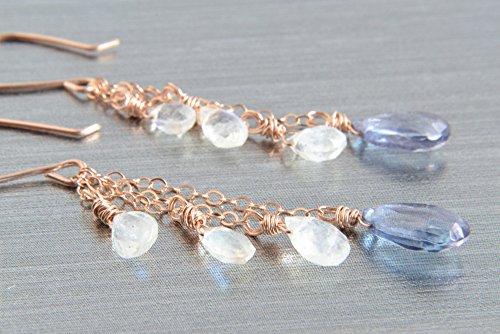 Moonstone and Blue Quartz Earrings, 14K Rose Gold (14k Rose Gold Moonstone Earrings)