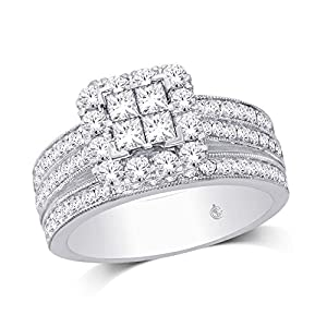 14K White Gold 1 1/2 Ct.Tw.Diamond Fashion Invisible Ring