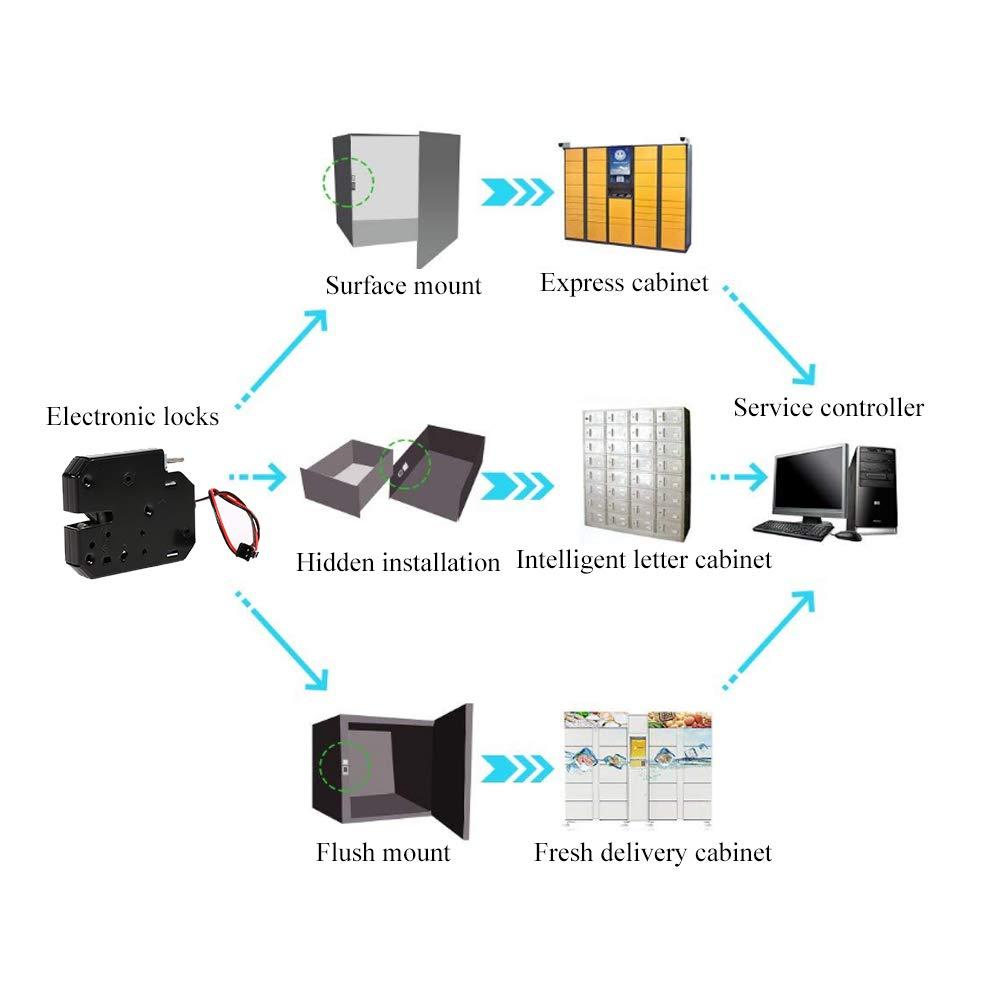 Sans D/étection Interrupteur Serrure /Électronique 12 V Mini Serrure /Électrique Sol/éno/ïde de Montage pour Porte darmoire Tiroir