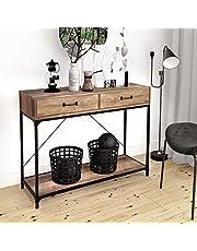 Console 2 tiroirs avec poignées et étagère de rangement Table d'appoint pour la maison et le bureau Table d'appoint en bois avec cadre en métal noir pour couloir, salon, chambre, entrée, cuisine