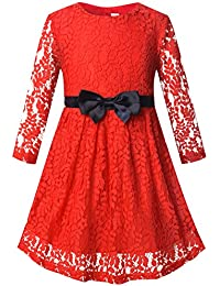 Girls Long Sleeve Midi Lace Party Kids Dress With Bow Sash