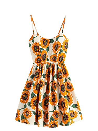 MakeMeChic Women's Spaghetti Strap Crisscross A-line Floral Dress Yellow one-size