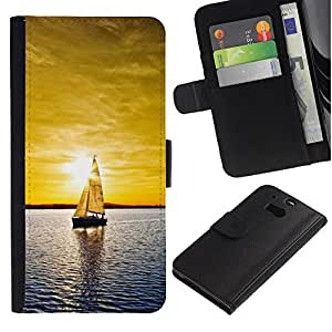NEECELL GIFT forCITY // Billetera de cuero Caso Cubierta de protección Carcasa / Leather Wallet Case for HTC One M8 // Sunset yate