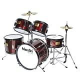 Mendini MJDS-5-WR Complete 16-Inch 5-Piece Wine Red Junior Drum Set with Cymbals, Drumsticks and Adjustable Throne