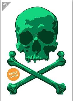 Amazon.com: Plantilla de calavera pirata, 3 capas, tarjeta o ...