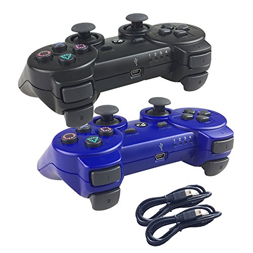 Ps3 Red Wireless Controller - Deloke Wireless Bluetooth Controller For PS3 Double Shock - Bundled with USB charge cord (Blue and Black)