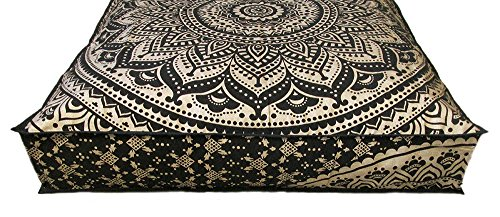 - CRAFT PLACE Indian Mandala Floor Pillow Square Ottoman Pouf Daybed Oversized Cushion Cover Cotton Seating Ottoman Poufs Dog or Cat/Pets Bed 35