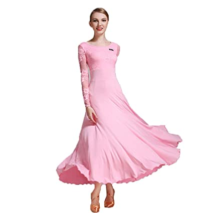 3a6e261438a7 ZTXY Modern Fashion Billowing Skirts Latin Dance Costumes Belly Dance Skirt  Long Sleeves Dress Pink lacy Milk Fiber Ballroom Dancing Plus Size XL 2XL  Prom ...