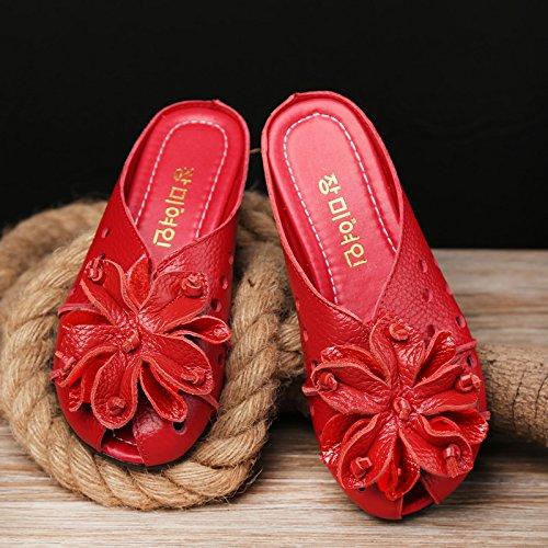 Fondo SCLOTHS Rojo blando Chanclas Baotou plano Polipiel para mujer Flores C cómodo Casual qxrpTqZ