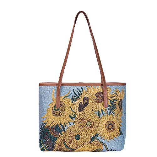 Signare Tapestry Vincent Van Gogh Sunflower Fashion Tote College Bag (COLL-ART-VG-SUNF)