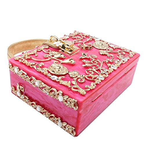del con il del intagliata diamante le donne a borse Frizione della del di per metallo delle stampa del regalo acrilico promenade catena partito Borgogna cavità qAvYqwx7U