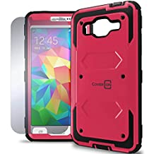 Galaxy Grand Prime Case, CoverON® [Tank Series] Hybrid Hard Armor Protective Phone Case and Screen Protector For Samsung Galaxy Grand Prime - Hot Pink & Black