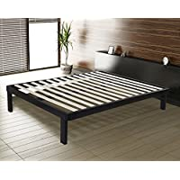 SLEEPLACE SVC14BF03K 14 Inch Dura Metal Wood Slate Bed Frame, King