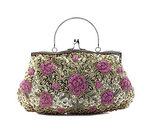de Flores mano Banquete Bolso Bolsa hechas con Novia Fiesta Embrague Luckywe Hombro Multicolor8 de Handbag a zOqvFvx