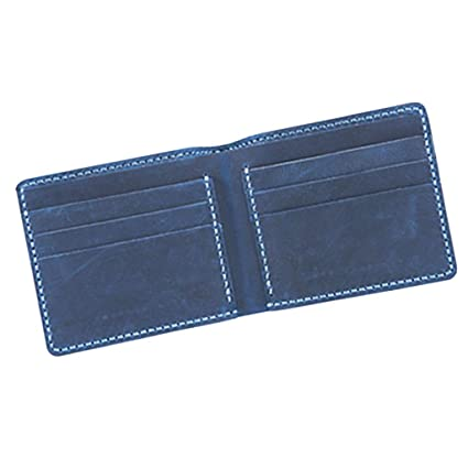Prettyia Diy Leather 6 Pockets Wallet Kit Purse Bifold Kit Make Your Own Leather Wallet Blue