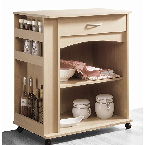 Natural Maple Mobile Microwave Cart FMP25467