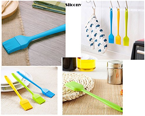 """Silcony 8. 4"""" basting brushes silicone heat resistant bpa free pastry brushes for bbq grill barbeque & kitchen baking set oil brushes soft bristles long handle (3 pack) (3, 8. 4 inches) 5 pure silicone & heat resistant - made of 100% food grade silicone material and bpa free. It can withstand heat up to 40-250 degrees. Soft & strong - comfortable handling with a nice and flexible grip. The metal rod under the silicone handle makes it easy to use for bbq & extreme heat. Also, the long handle will keep you safe from heat pressure. Saftey guaranteed - safe to use in oven, microwave, dishwasher & freezer. The matrial won't melt under any heat pressure and safe to use for bbq, baking, even cooking in a frying pan."""