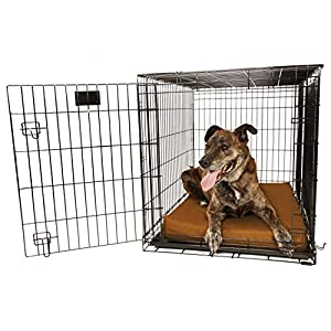 "Orthopedic 4"" Dog Crate Pad by Big Barker - 42"" x 28"". Waterproof & Tear Resistant. Thick, Heavy Duty, Tough, Washable Cover. Luxury Orthopedic Support Foam inside. Made in USA."