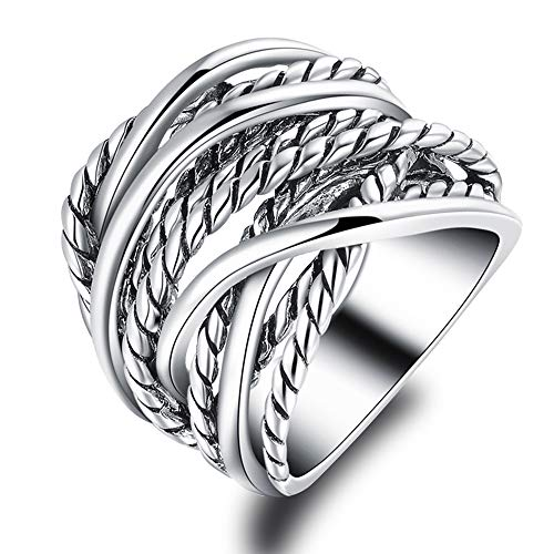 Ring David Band Yurman - Mytys Silver Plated Intertwined Design Wrapped Wire Fashion Band Ring for Women Men 20mm Wide (7)