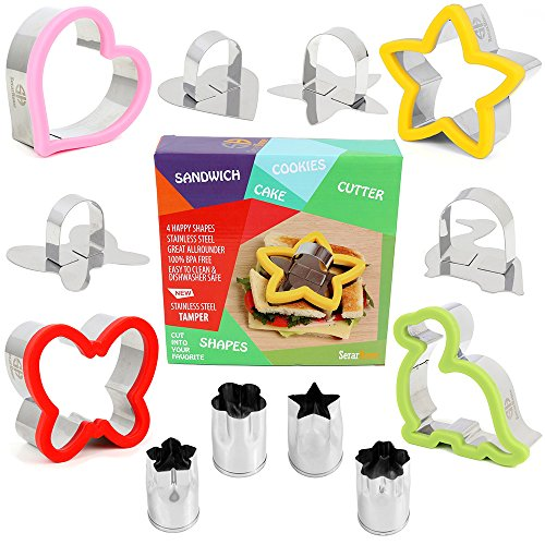 Sandwich Cutter for Kids - Best Stainless Steel Sandwich Cutter Set - 4 Bread Cutters Shapes for Kids Suitable for Cakes and Cookie - Bonus 4 Vegetable Cutters - Heart For Kids Shape