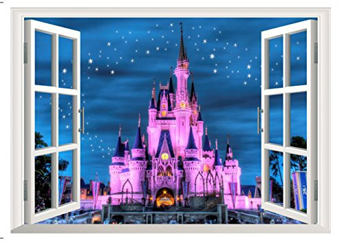 Window Wall Decals 3D Fake Faux Window Stickers Vinyl Peel & Stick Mural Art Wallpaper for Kids Children Baby Family Bedroom Living Room Nursery Room Landscape Frame Kindergarten Decor Removable (Peel Stick Murals And)