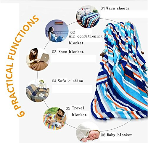 Spa summer blanket Stones with Candles Spiritual Eastern Yoga Relaxation Meditation Chakra Bamboos Print Flannel Multicolor size:51''x31.5'' by BarronTextile (Image #1)