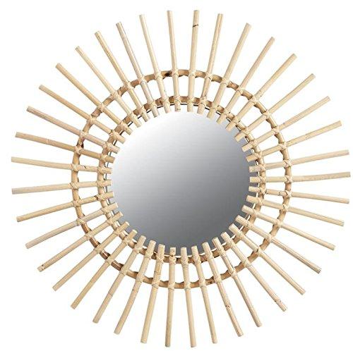 Aubry Gaspard Spiegel, rund, Sonnen-Form, Rattan, Durchmesser  55 cm